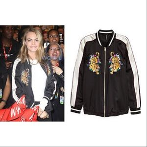 H&M jacket embroidered tiger size 4 bomber zip up